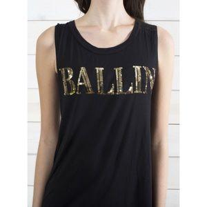 "Tops - Black Gold Sequin ""BALLIN"" Sleeveless Tank"